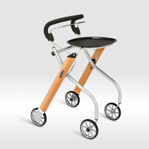 The Trust Care Let's Go Rollator. The Let's Go Rollator is shown from the side in natural wood color with grey & black accents.
