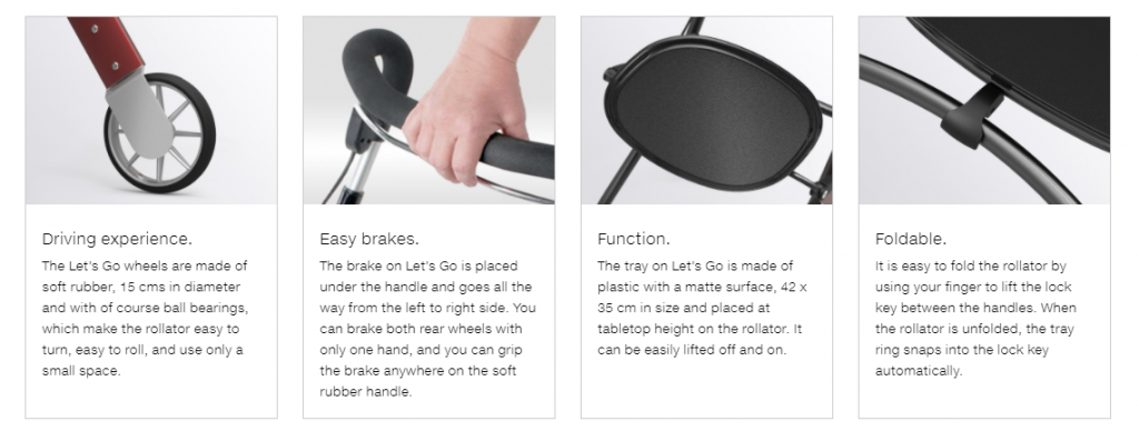 The Trust Care Let's Go Rollator features. From left to right: rubber wheels, easy-grip brakes, hand-level tray, foldable unit.