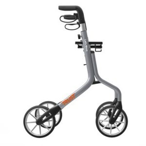 The Trust Care Let's Move Rollator. The Let's Move Rollator is shown from the side in grey with black accents.