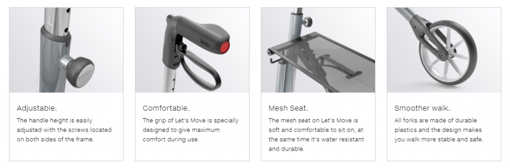 Trust Care Let's Move Rollator features image. From left to right: Adjustable unit, comfortable hand brakes, mesh seat, and rubber wheels for a smooth walk.