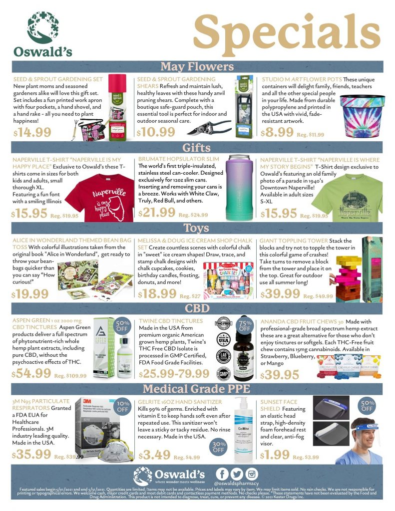 May 2021 Sales Flyer. Monthly promotions for Oswald's Pharmacy. Large image size.