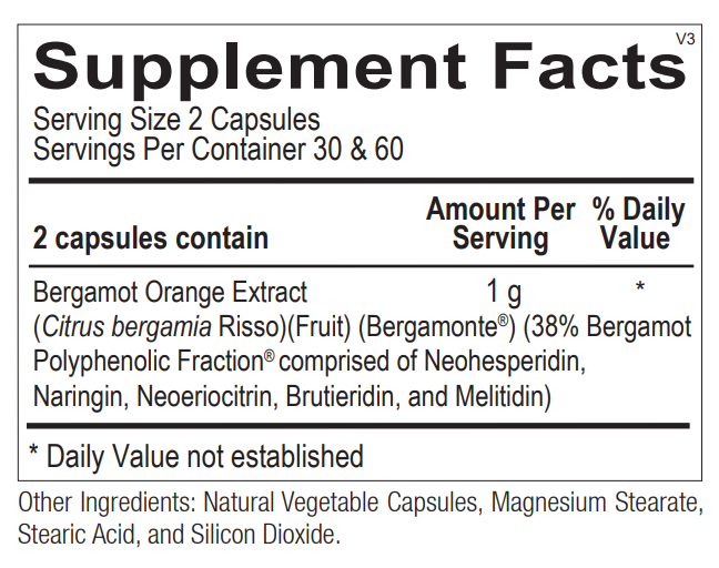Ortho Molecular Bergamot BPF 60 Caps Supplement Facts. Image of the supplement facts label on the bottle.