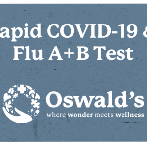 Drive Up Covid And Flu A B Testing Page Image. Test name over the Oswald's where wonder meets wellness logo.