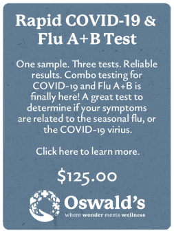 Drive Up Covid And Flu A B Testing Page banner. Image and description of the test with price. Oswald's where wonder meets wellness logo at bottom of page.
