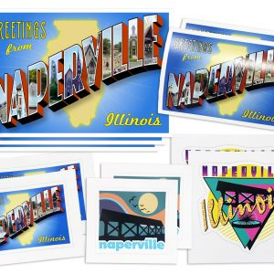 Naperville Stickers & Postcards multipack. Photo of an assortment of Naperville, IL-themed postcards and stickers.
