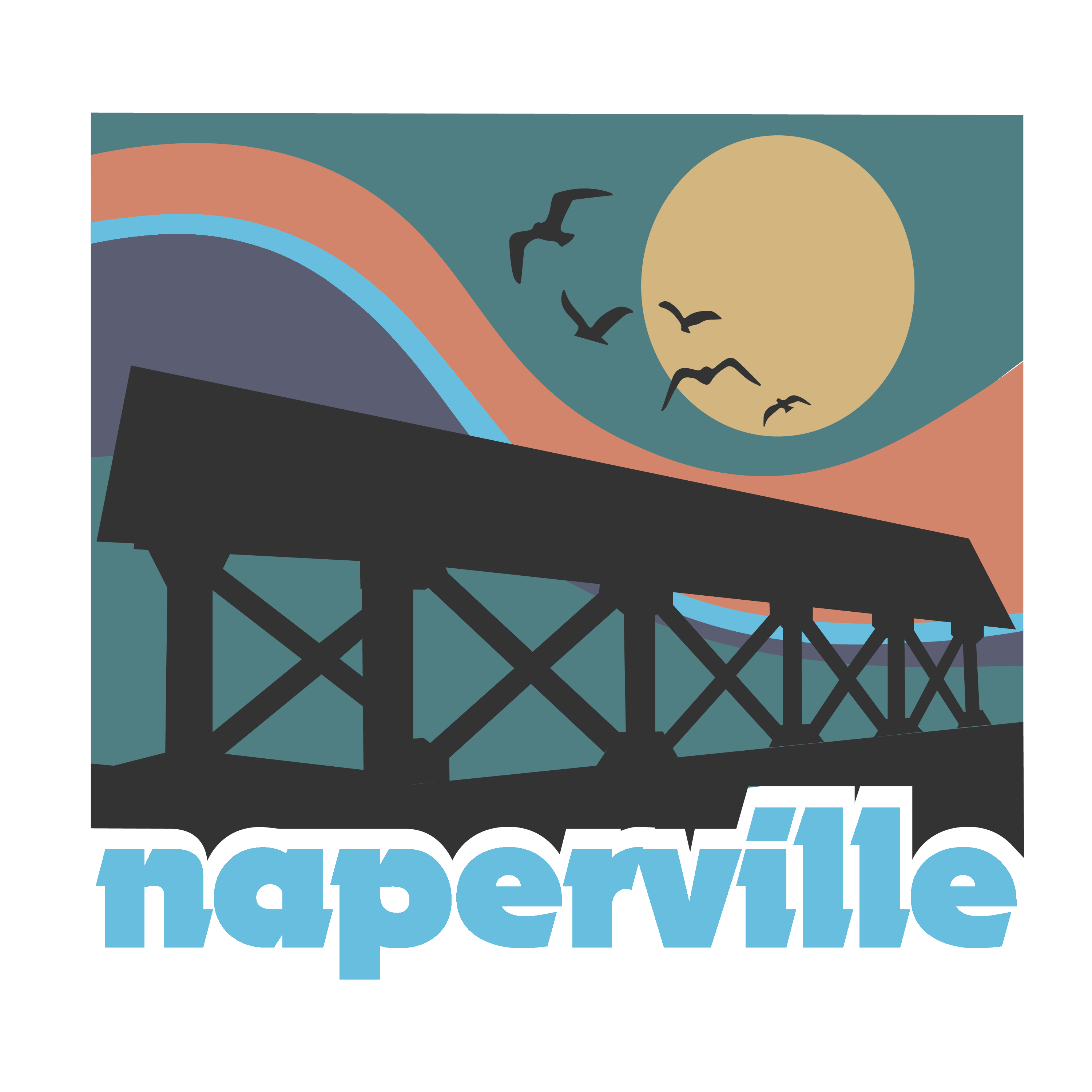 Naperville 1970s Blue Naperville Fixed Bridge and Sky. Naperville, IL logo in a vintage 1970s style.