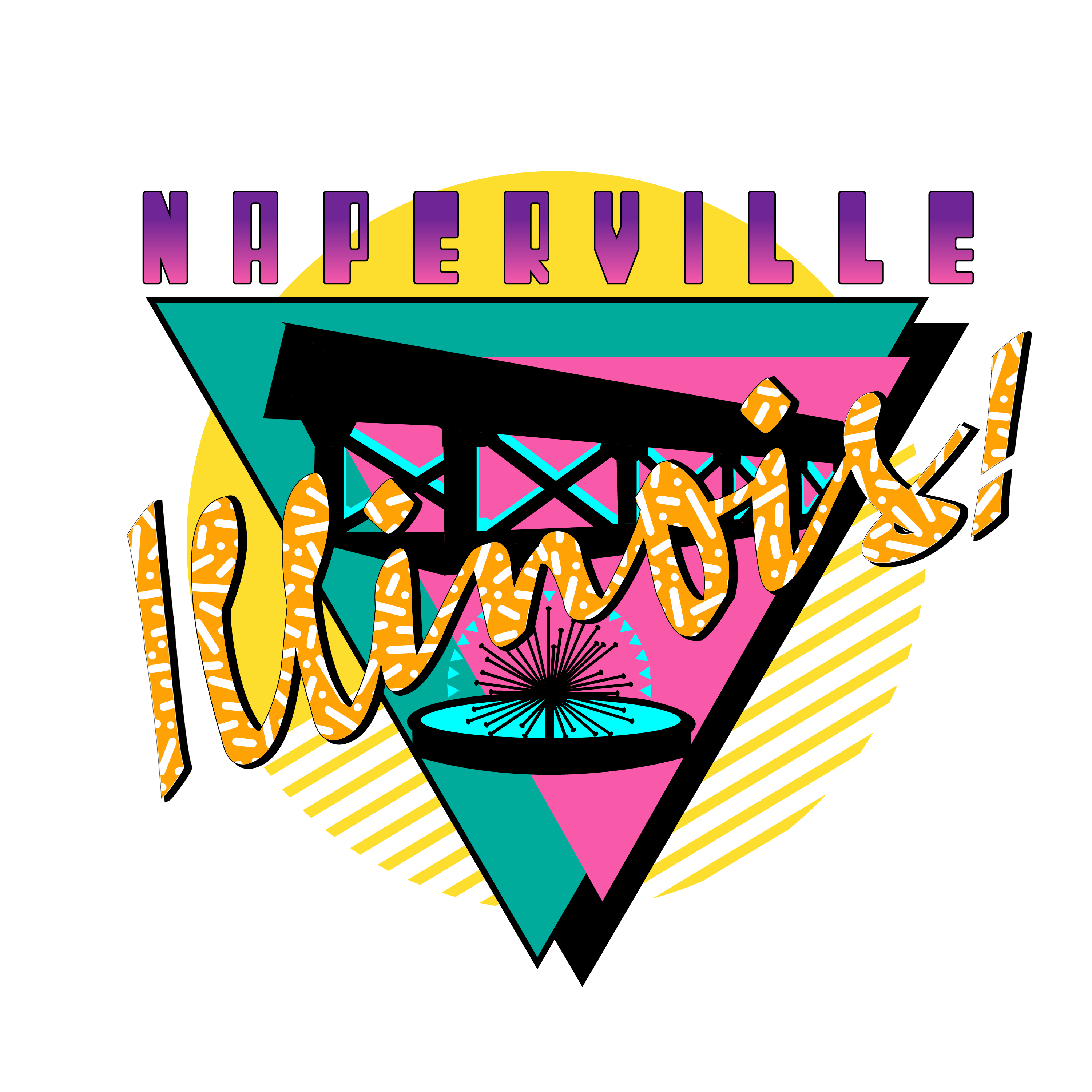 Naperville 90s Tee. Picture of a stylized Naperville, IL graphic from a Tee shirt.