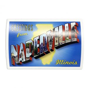 """Naperville, IL Postcard. Photo of a Naperville, IL Postcard. Box letters in """"Naperville"""" feature iconic landmarks from around the city."""