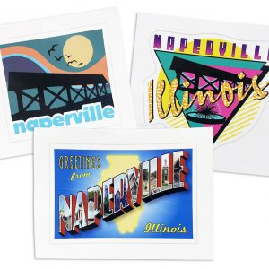 Naperville Sticker 3-Pack. Photo of 3 Naperville, IL stickers-left to right, Retro downtown bridge, Naperville postcard style, and 1990s theme.