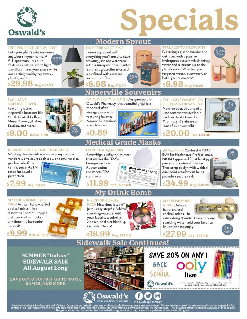 August 2021 Sales Flyer. Monthly promotions for Oswald's Pharmacy. Large image size.