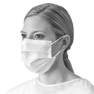 Medline Level 1 Face Masks 50 Pack. Photo of a woman wearing an individual Medline Level 1 Face Mask. White mask color.