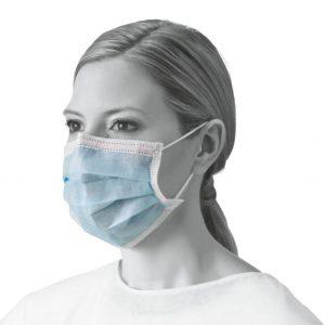 Medline Level 3 Face Masks 50 Pack. Image of a woman wearing an individual Medline Level 3 Face mask. Blue mask color.