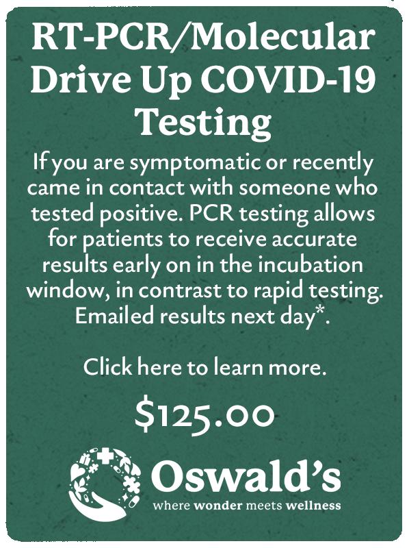 Drive Up Covid PCR Molecular Testing image. $125.00 per test