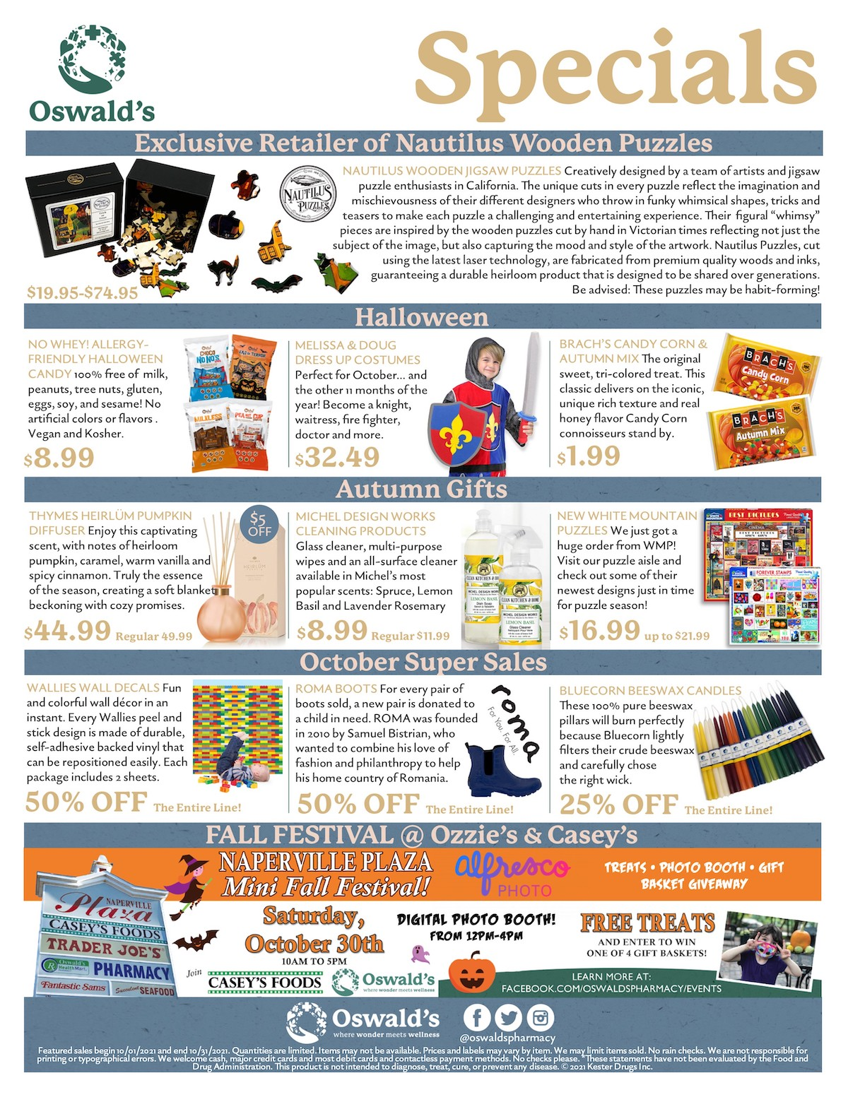 October 2021 Sales Flyer. Monthly promotions for Oswald's Pharmacy. Large image size.